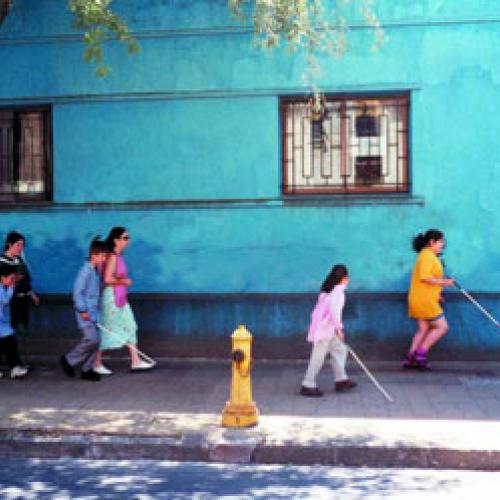 Blind children walking with canes